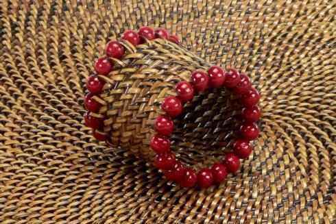 $31.00 Beaded Napkin Ring Red Set of 4 pcs