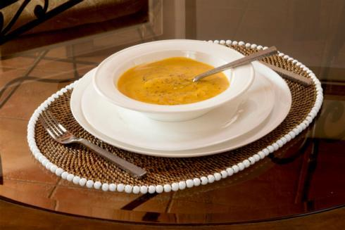 $185.00 Placemat Oval With Beads White