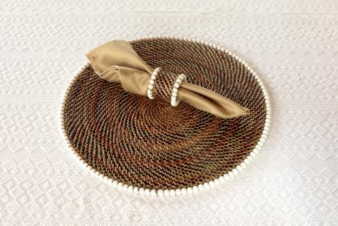 Calaisio Table Collection Handwoven  Placemat Placemat with Beads White $185.00