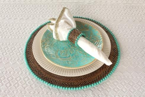 $172.00 Placemat with Beads Aqua Set of 4 pcs