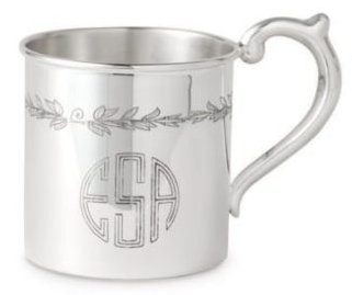 """$250.00 Floral Sterling Baby Cup - H: 2 1/8"""" x Dia: 2 3/8"""""""