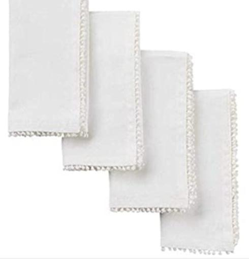 Camargo Exclusives   White pom pom diner napkins (4) $25.00
