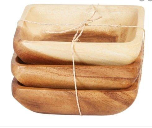 $18.00 Square Wooden Dish set of 3