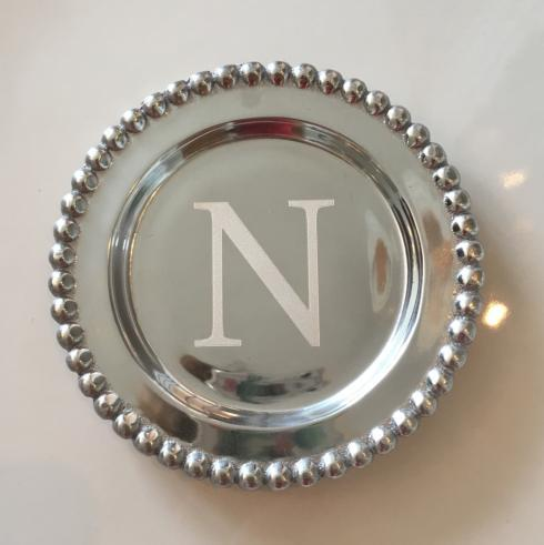 "$39.00 Mariposa beaded wine coaster ""N"""
