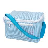 $22.00 Aqua Seersucker Lunch Box