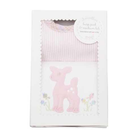 3 Marthas   Pink Deer Bib & Burp Box Set $30.00