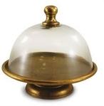 Split P   Gold/Glass Cake Pedestal W/Dome $145.00