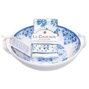 $55.00 Moroccan Blue Two Handle Bowl with Matching Tea Towel