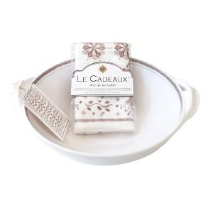 $55.00 Rustica White Two Handle Bowl with Matching Tea Towel
