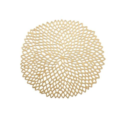 $12.00 Gold Pressed Dahlia Round Placemat