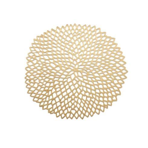 $12.00 Gold Pressed Dahlia Round Placemat