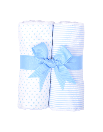 $30.00 Blue Bunny Tales Set of 2 Fabric Burp Pads