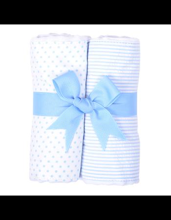 $30.00 Blue Bunny Tales Set of 2 Fabric Burp Pads