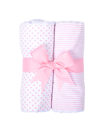 3 Marthas   Pink Bunny Tales Set of 2 Fabric Burp Pads $30.00