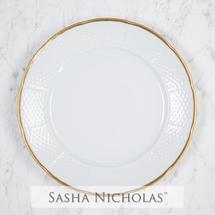 Sasha Nicholas   Weave Simply White 24K Gold Dinner Plate $54.00
