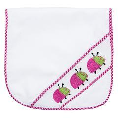 $21.00 Hot Pink Ladybug Smocked Burp Cloth