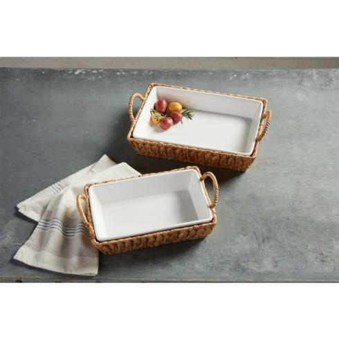 Mud Pie   Water Hyacinth Med Rectangular Baker  $38.00