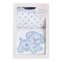 $30.00 Blue Puppy Bib & Burp Box Set