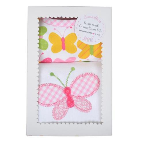 $34.00 Butterfly Burp/Bib Box set