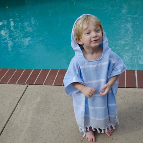 Cole & Co's Exclusives   Birchwood - Blue Hooded Poncho $38.00
