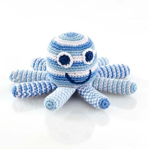 $16.00 Pebble Blue Octopus Rattle