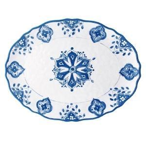 Le Cadeaux   Morrocan Blue Oval Platter 16
