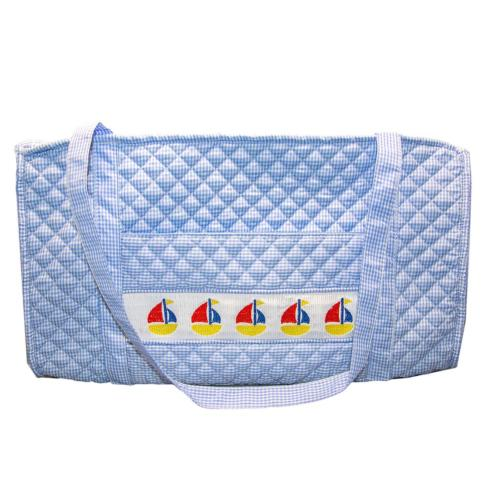 $55.00 Smocked Blue Sailboat Duffel Bag