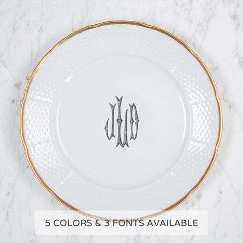 Sasha Nicholas   Gold Rimmed Monogram Dinner Plate $78.00