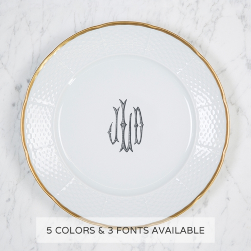 Gold Rimmed Monogram Dinner Plate collection with 1 products