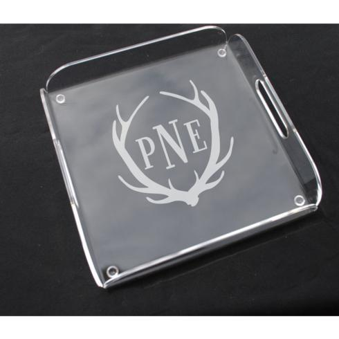 $76.00 Monogram square handled tray