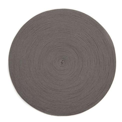 "$20.00 15"" Round Braided Placemat Silver Slate"