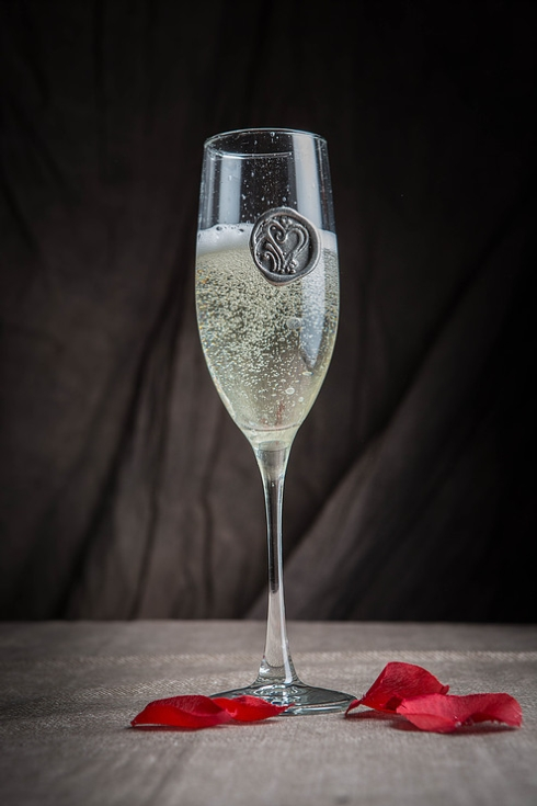 $21.25 Southern Jubilee - champagne flute with Initials
