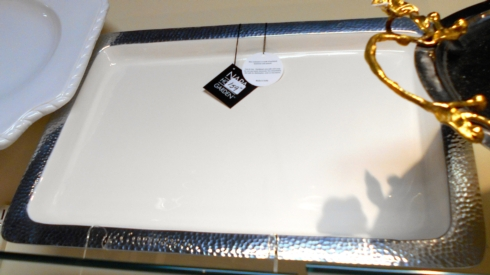 $159.00 Serving Tray with hammered trim