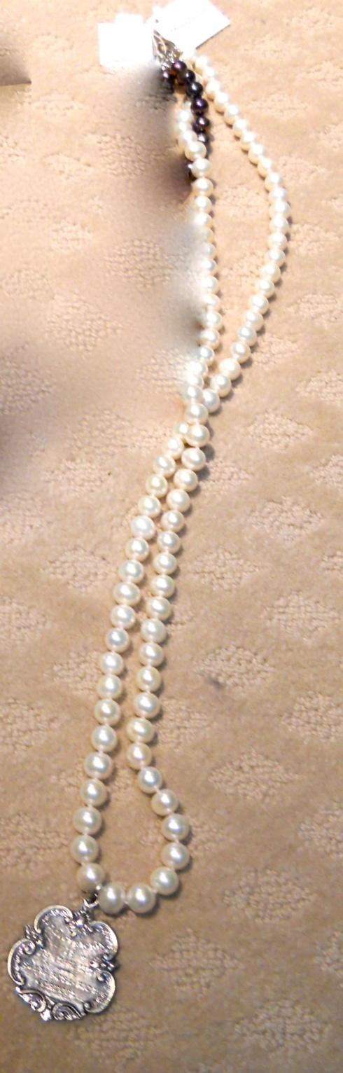 $179.00 Pearl & Academic Award Medal Necklace