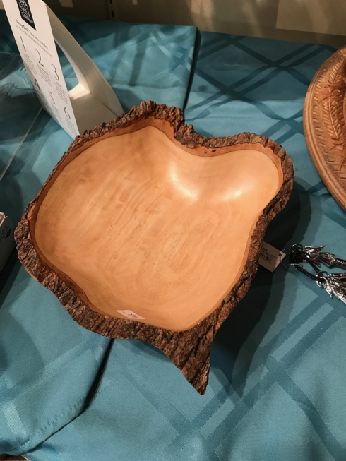 Wooden serving bowl trimmed in Bark