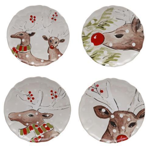 Deer Friends Dessert Plate White, Set/4