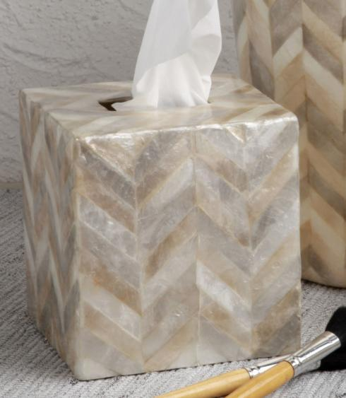 Casafina  Organic Bath - Herringbone Capiz Boutique Tissue Box, Herringbone $50.50