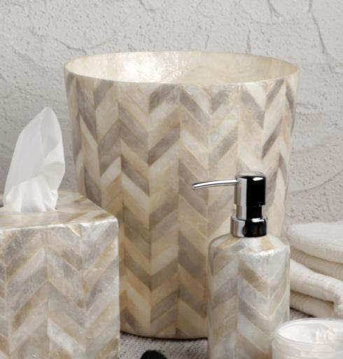 Casafina  Organic Bath - Herringbone Capiz Waste Basket, Herringbone $104.50