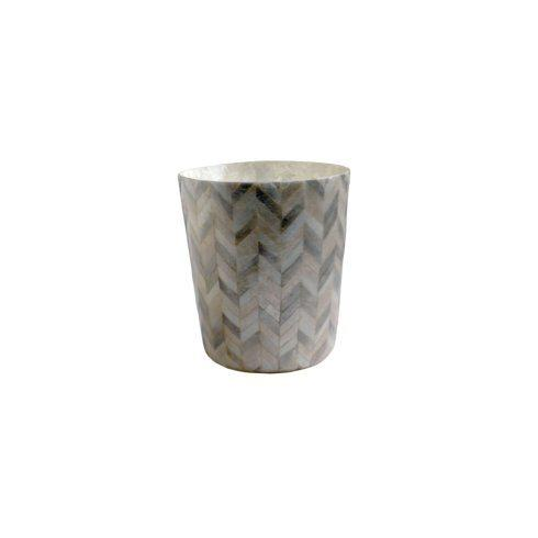 Casafina  Bath Collection - Herringbone Capiz Waste Basket, Herringbone $99.00