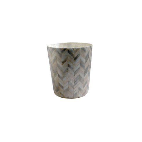 Casafina  Bath Collection - Herringbone Capiz Waste Basket, Herringbone $99.00