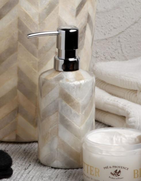Casafina  Organic Bath - Herringbone Capiz Lotion Pump, Herringbone $43.00