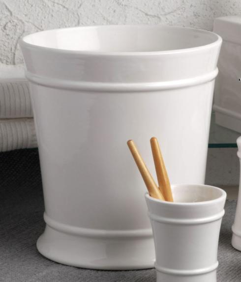 Casafina  Multi/Neutral Bath-Lexington White Waste Basket, White $60.50