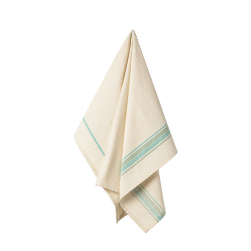 $17.50 Set 2 Kitchen Towels 100% Cotton French Stripes Aqua