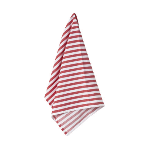 $17.50 Set 2 Kitchen Towels 100% Cotton Stripes Classic Red