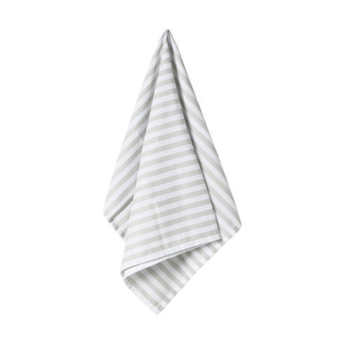 $17.50 Set 2 Kitchen Towels 100% Cotton Stripes Dove Grey