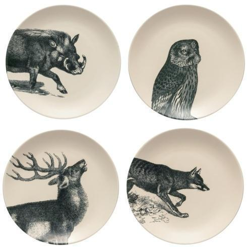 "$89.00 Fauna Set 4 Salad/Dessert Plates 9"""