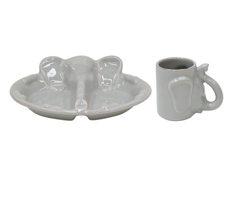 $35.00 Plate/Mug Set,Elephant Gray