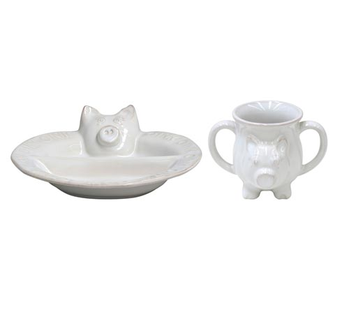 $49.00 Plate/ Mug Set,Pig White