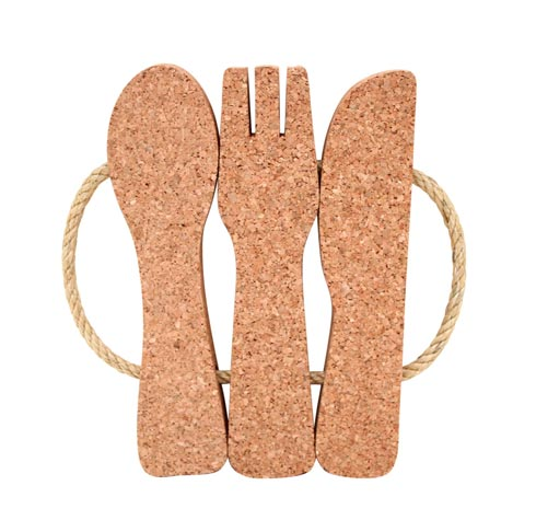Cork Collection 3-Cutlery Trivet W/Rope Handle