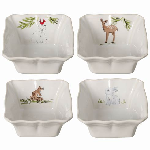 Casafina  Deer Friends Set 4 Ind. Sq.Bakers White $65.00